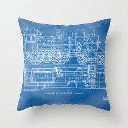 Steam Train Diagram - Blueprint Style Throw Pillow