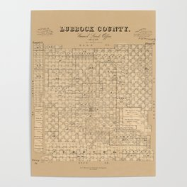 Map Of Lubbock 1892 Poster