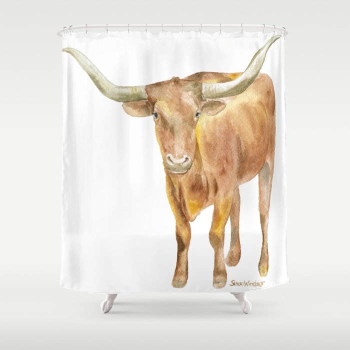 Texas Longhorn Steer Watercolor Shower Curtain