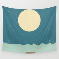 swimming Wall Tapestries featuring Nighttime Swimming by Tammy Kushnir