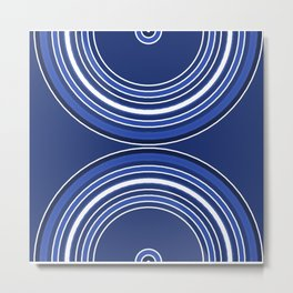 Blue Half Rainbow Abstract Metal Print