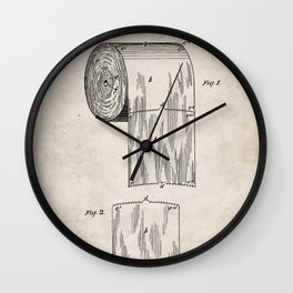 Toilet Paper Patent - Bathroom Art - Antique Wall Clock