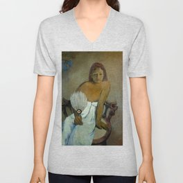 """Paul Gauguin """"Young Girl with Fan"""" Unisex V-Neck"""