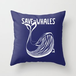 Save the Whales - Blue Throw Pillow