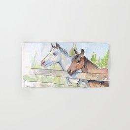 Horses Watercolor Sketch Barn Animals Horse Hand & Bath Towel