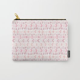 Muted Pink Boho Tribal Chevron Pattern Carry-All Pouch