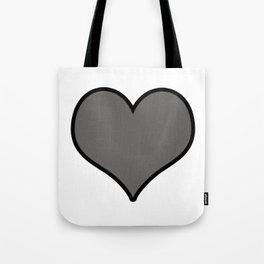 Pantone Pewter Gray Heart Shape with Black Border Digital Illustration, Minimal Art Tote Bag