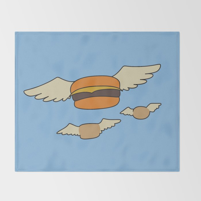 bob s burgers flying hamburger picture throw blanket by fanatoonic