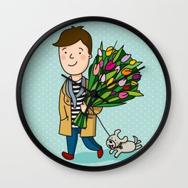 boy with flowers Wall Clock