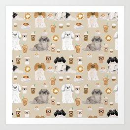 Pekingese dog breed dog pattern pet portraits coffee food dog breeds pet friendly Art Print