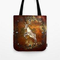 reindeer Tote Bags featuring Reindeer by nicky2342