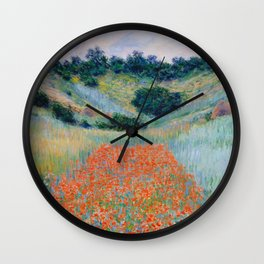 Poppy Field in a Hollow near Giverny Claude Monet Wall Clock