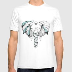 Poetic Elephant White Mens Fitted Tee MEDIUM