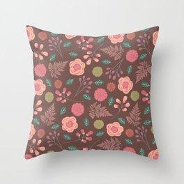 Boho Floral Mix Throw Pillow
