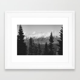 Snow Capped Sierras - Black and White Nature Photography Framed Art Print