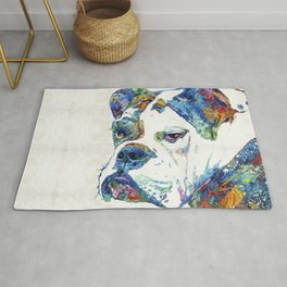 Colorful English Bulldog Art By Sharon Cummings Rug