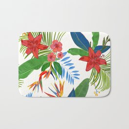 Heaven Bird Flower, Lily and Frangipani Tropical Flowers Pattern Bath Mat