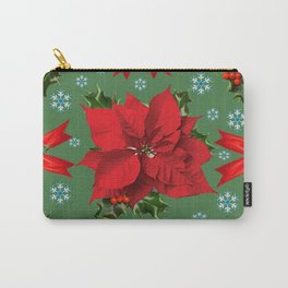 SNOW FLAKES & RED CHRISTMAS POINSETTIA HOLLY BERRIES ART Carry-All Pouch
