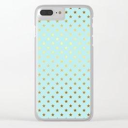 Princesslike - aqua and gold elegant star ornament pattern Clear iPhone Case