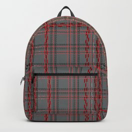 Gray, red tartan plaid. Backpack