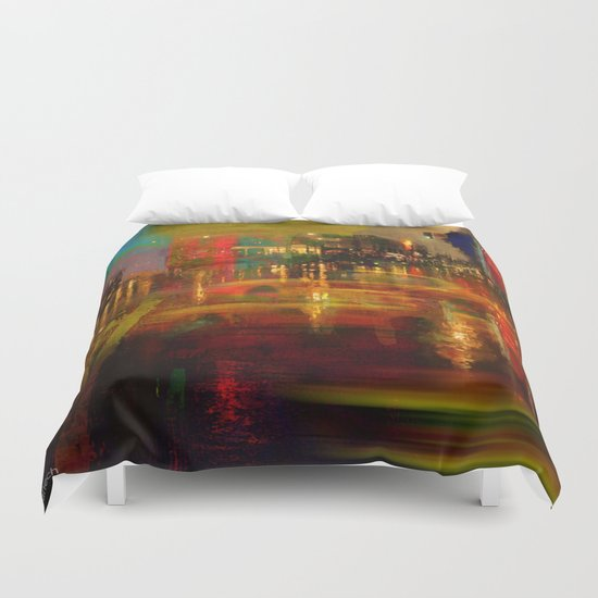 The yellow city of taxis Duvet Cover