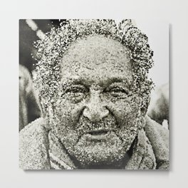 Portrait of a old man in the street Metal Print