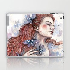 Girl with a butterfly II, watercolor artwork / illustration Laptop & iPad Skin