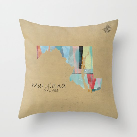 Decorative Pillows With States : Maryland state map Throw Pillow by Bri.buckley Society6