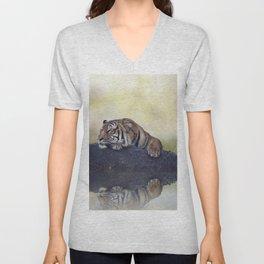Bengal tiger resting on a rock near pond Unisex V-Neck