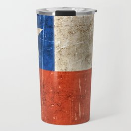 Vintage Aged and Scratched Chilean Flag Travel Mug