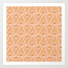 mala, african tribal pattern tangerine Art Print