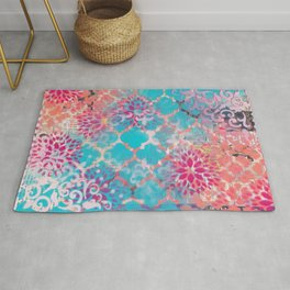 Mixed Media Layered Patterns - Turquoise, Pink & Coral Rug