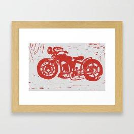 Motorbike Linocut Framed Art Print