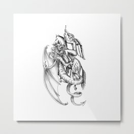 St George Slaying Dragon Tattoo Metal Print