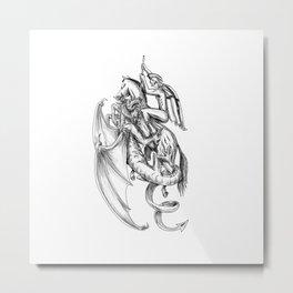 St George Slaying Dragon Tattoo Metal Print