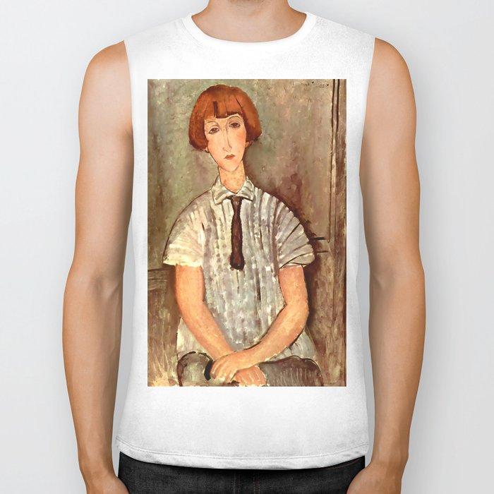 "Amedeo Modigliani ""Young Girl in a Striped Blouse"" Biker Tank"