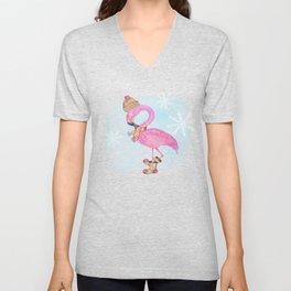 Winter Woodland Stranger- Cute Flamingo Bird Snowy Forest Illustration Unisex V-Neck