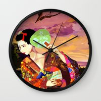 kitsune Wall Clocks featuring Kitsune by Sandpaperdaisy