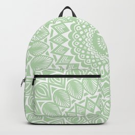 Pale Green Mandala Detailed Textured Minimal Minimalistic Backpack