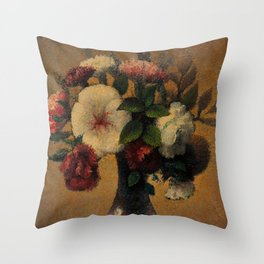 Gemstone Bouquet of Peonies in Vase brillaint still life portrait painting by Tobeen Throw Pillow