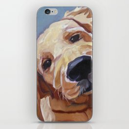 Golden Retriever Puppy Original Oil Painting iPhone Skin