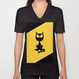The angry cat print, animal comic cartoon design Unisex V-Neck