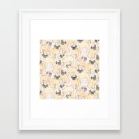 pugs Framed Art Prints featuring Pugs by Sian Keegan