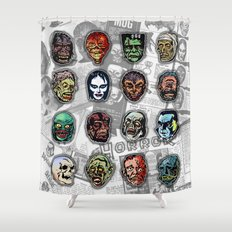 Horror Movie Monsters Masks (color) Shower Curtain