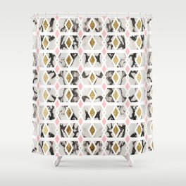 Modern Marble Gold Blush Pink Geometric Shower Curtain
