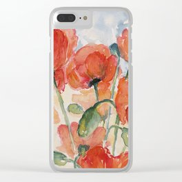 Burnt Orange Salmon Field of Poppies watercolour by CheyAnne Sexton Clear iPhone Case