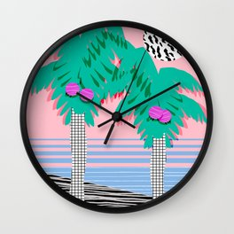 Most Definitely - palm tree throwback memphis style retro art print 80s 1980 neon  palm springs Wall Clock