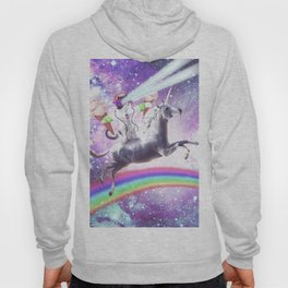 Lazer Rave Space Cat Riding Unicorn With Ice Cream Hoody