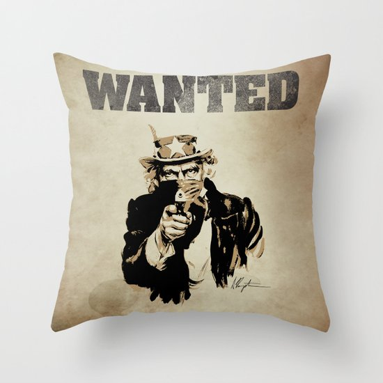 Wanted Poster Throw Pillow