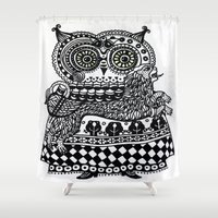 celtic Shower Curtains featuring Celtic owl by oxana zaika